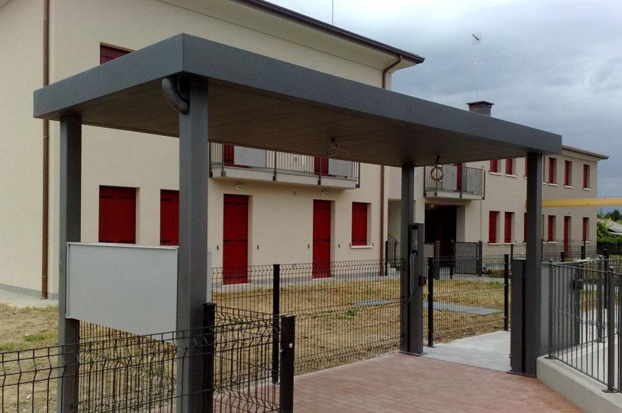 excellent copertura ingresso condominio con struttura in ferro zincato e verniciato copertura ...